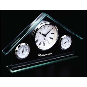Weather Station - Alarm Clock, Hygrometer And Thermometer. Chrome Bezels