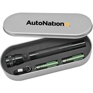 Deluxe Flashlight Set. Aluminum Construction With Tin Case And Hand Strap