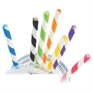 Sedici - Plastic Striped Straw. Blank Product Only