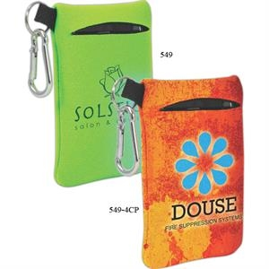 Neoprene Mobile Accessory Holder With Key Ring Loop And Carabiner Clip