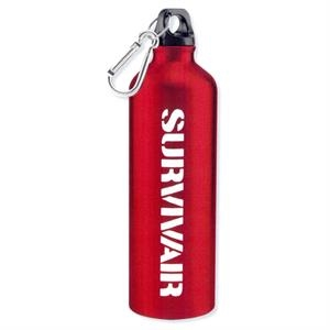 Hydro - Red - Aluminum Sports Bottle With Carabiner, 25 Oz