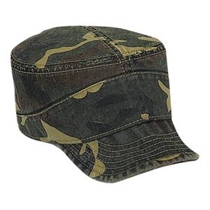 Garment Washed Cotton Twill Military Style Camouflage Cap With Soft Visor. Blank