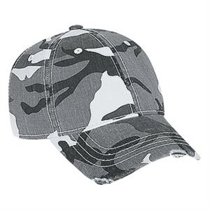Youth Camouflage Cotton Twill Six Panel Cap With Distressed Visor. Blank