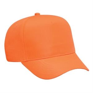 Neon Deluxe Polyester Twill Solid Color Five Panel Pro Style Cap. Blank