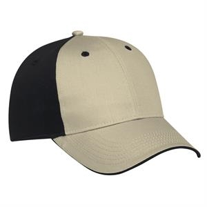 Two Tone Cotton Twill Flipped Edge Visor Pro Style Cap. Blank