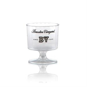 2 oz Clear Fluted Plastic Footed Wine Cup