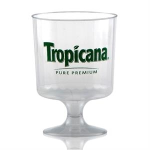 8 oz Clear Fluted Plastic Footed Wine Cup