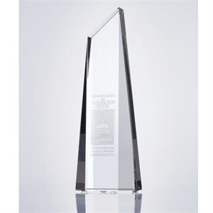 "Lucia - 8"" X 2 3/4"" X 1 3/4"" - Crystal Polygon Obelisk Keepsake Tower Award"