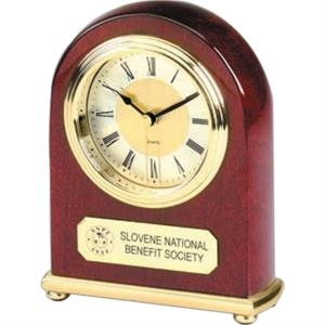 Arched Desk Alarm Clock With Round Brass-tone Bezel On Brass Base