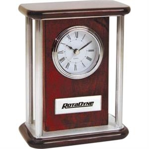 Rosewood Color Mantel Clock With Four Silver Pillars And Silver Trim