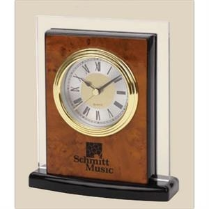 Burlwood Finish Desk Alarm Clock With Jet Black Edges And Base