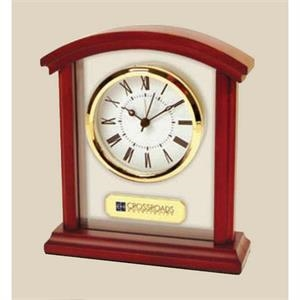 Sculpted Arch Alarm Clock Made Of Wood And Glass With Roman Numeral Dial