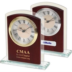 Glass And Wood Desk Silver Alarm Clock In Satin Rosewood Finish With Glass Trim Panel