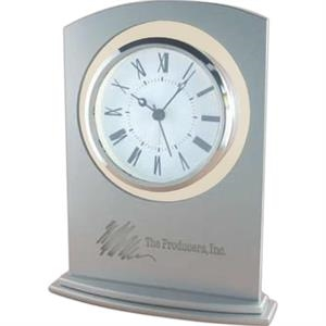 Glass Alarm Clock With Metallic Silver Painted Glass Panel And Silver Bezel