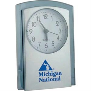 Arch Top Alarm Clock Features Brushed Silver Front With Translucent Blue Tint Trim