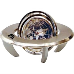Orbital Spinning Gyro Globe Clock With A Place For Photo Or Insert On Other Side