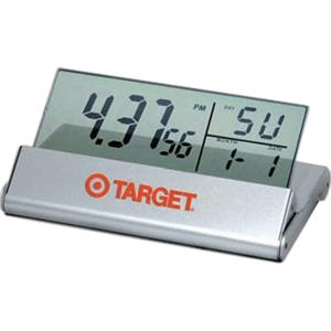Calling Card - Lightweight Travel Alarm Clock With See-thru Display, Folds Into The Aluminum Case