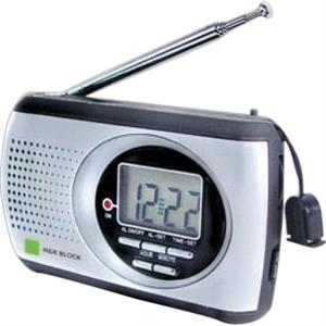 Handy Aluminum Surface Am/fm Clock Radio With Display And Telescoping Antenna