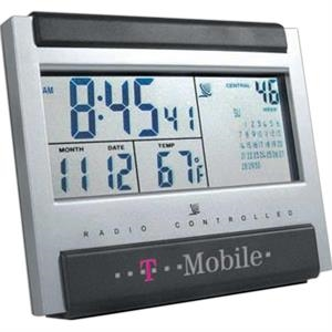 Atomic - Atomic Desk Clock With Elegant Silver And Charcoal Gray Combination