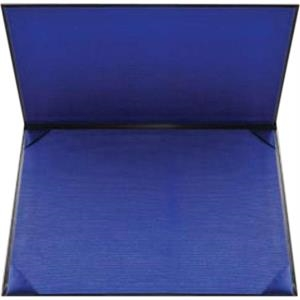 Double-padded Black Leatherette Certificate Holder With Navy Blue Fabric Lining