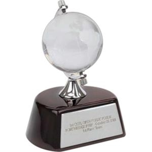 Optical Glass Globe Award Mounted On Top Of A Beautiful Wood Finish Base