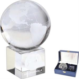 Optical - Optical Crystal Globe On Cube Shape Optical Crystal Base With Velvet Lined Gift Box