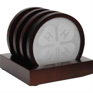 Oxford - 4 Piece Wooden Coaster Set With A Silver Plate Insert And Stand Up Base