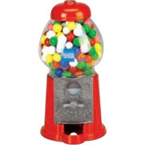 "Carousel (r) - Petite Gumball Machine. 9"" Red Cast Aluminum And Glass Globe. Holds 13 Oz. Gumballs"