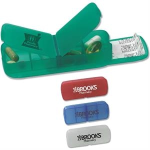Pill Box With Storage. Four Compartment Pill Box With Slide Storage Compartment