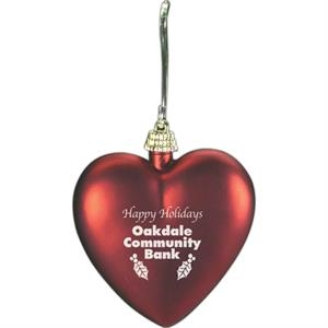 Heart Shaped Red Satin Finish Ornament
