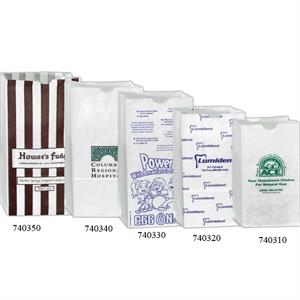"White Grocery Bag, 5"" X 3 1/8"" X 9 5/8"". Grease Resistant"