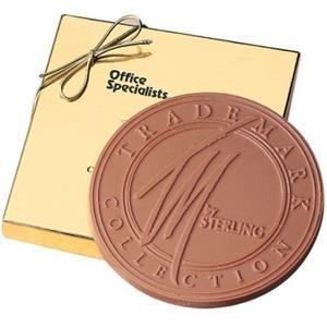 6 oz Round Custom Chocolate Bar in Gold Gift Box