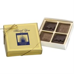 4 Chocolate Squares in Gold Gift Box