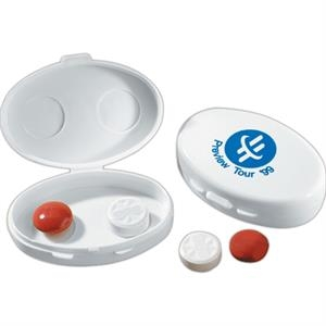 Quincy - Standard - Oval Shape White Pill Case With Single Compartment