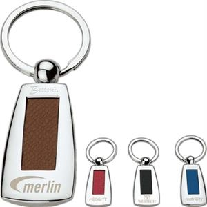 "Metal Keyring With Leather Textured Insert, 1 3/8"" X 3 1/2"" X 7/16"""
