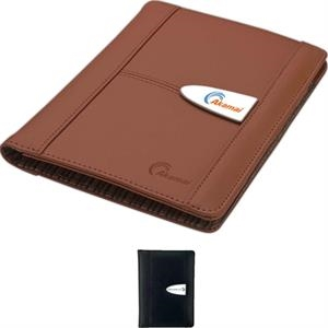Genuine Leather Junior Size Folio With Interior Mesh Pocket And Elastic Pen Loop