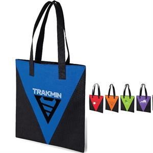 Accent Tote Bag With Colored V Design