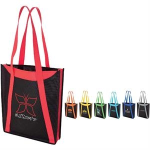 "Color Accent Tote Bag With Handles And 3"" Gusset"