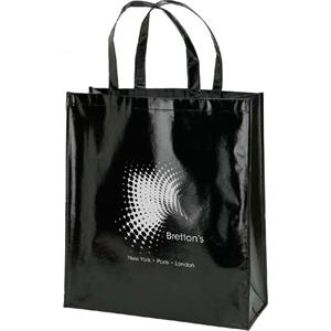 Shiny Laminate Black Tote Bag