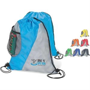 2-tone Drawstring Sport Bag With Mesh Side Pocket