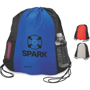 Sport Bag With Drawstring Closure, Two Exterior Mesh Pockets And Backpack Straps