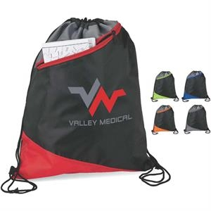 3-tone Angle Design Sport Bag With Drawstring Straps