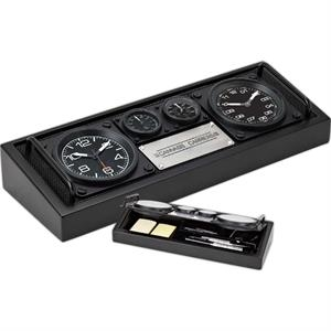 Desk Set Includes Two Clocks, Hygrometer And Thermometer