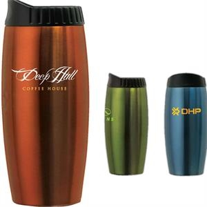 Stainless Steel Metallic Tumbler With Contoured Lid