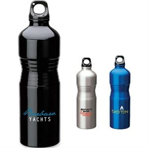 Aluminum Water Bottle With Indented Grip Area And Screw Off Cap