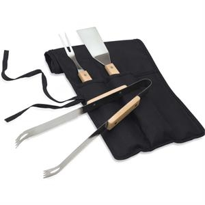 Three Piece Barbecue Set With Wood Handled Steel Barbecue Tools