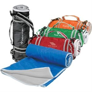 Fleece Picnic Blanket With Nylon Backing, Carry Handle And Shoulder Strap