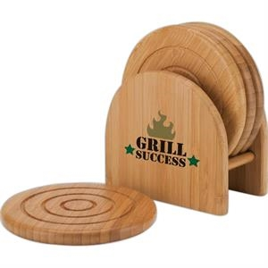 Eco-lifestyle (tm) - Bamboo 4-piece Coaster Set With Matching Holder