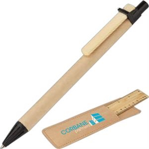Bamboo Ruler And Pen Set