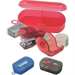 5 Piece Mini Stationary Set With Stapler, Tape Dispenser, Staples In Plastic Case